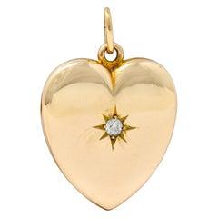 Victorian Old Mine Diamond 14 Karat Gold Heart Locket Pendant