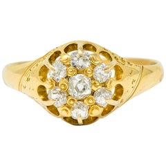 Victorian Old Mine Diamond 18 Karat Yellow Gold Cluster Ring