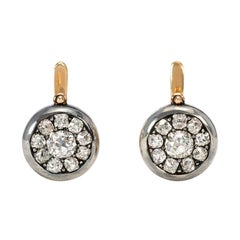 Victorian Old Mine Diamond Cluster Drop Earrings in Silver-Topped Gold