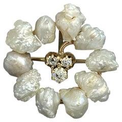 Victorian Old Mine Diamond Pearl Clover Shamrock Pendant Necklace Belle Epoque