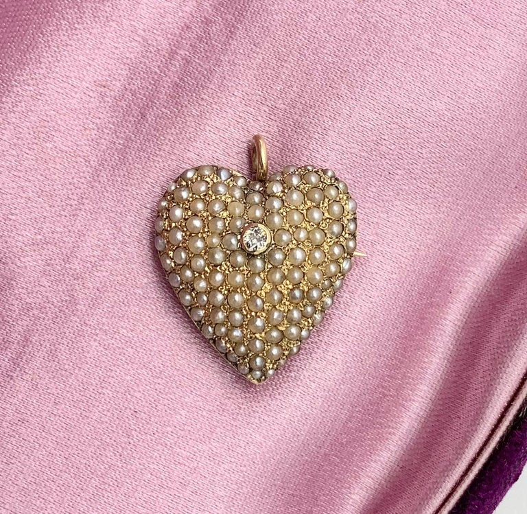 Old Mine Cut Victorian Old Mine Diamond Pearl Heart Pendant Brooch 14 Karat Gold Antique For Sale
