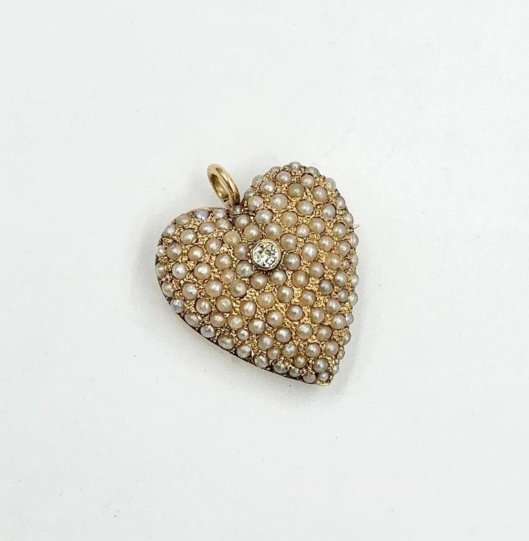 Women's Victorian Old Mine Diamond Pearl Heart Pendant Brooch 14 Karat Gold Antique For Sale