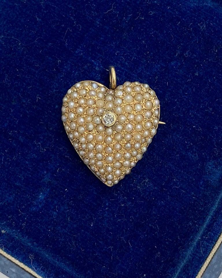 Victorian Old Mine Diamond Pearl Heart Pendant Brooch 14 Karat Gold Antique For Sale 1