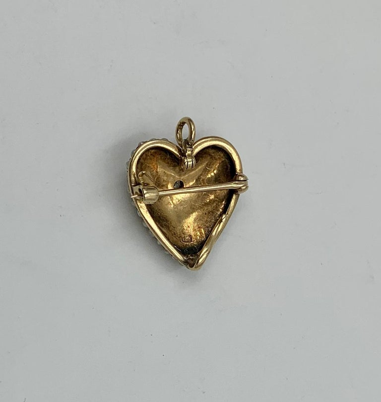 Victorian Old Mine Diamond Pearl Heart Pendant Brooch 14 Karat Gold Antique For Sale 2
