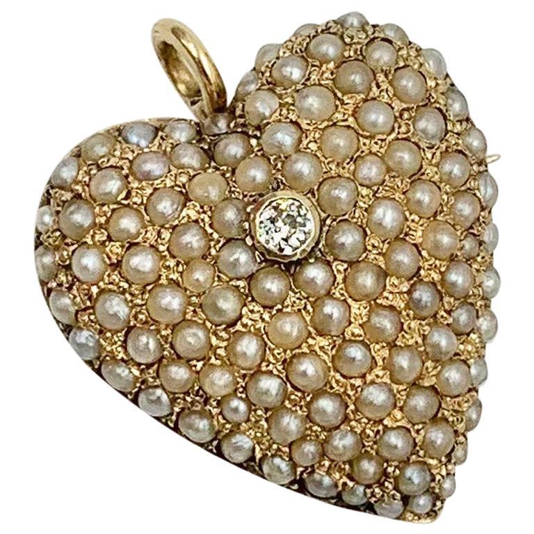 Victorian Old Mine Diamond Pearl Heart Pendant Brooch 14 Karat Gold Antique For Sale