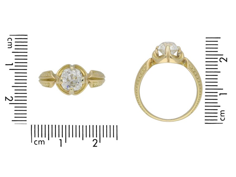 Women's or Men's Victorian Old Mine Diamond Solitaire Ring, circa 1860 For Sale
