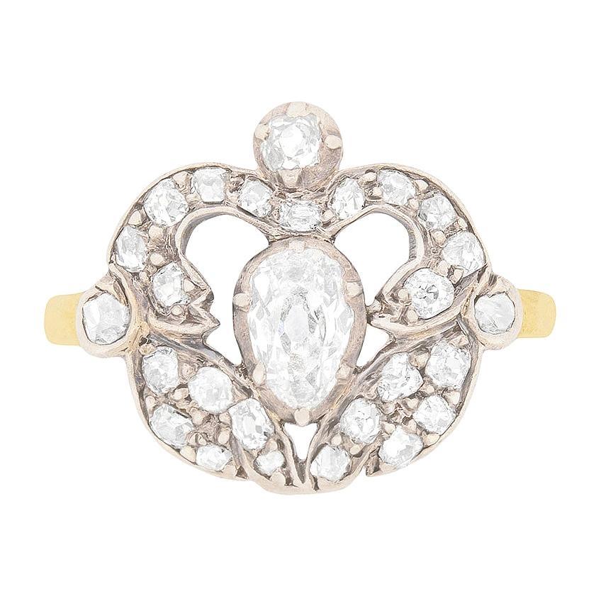Victorian Old Pear Cut Diamond Cluster Ring, circa 1880s