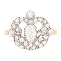 Victorian Old Pear Cut Diamond Cluster Ring, circa 1880s