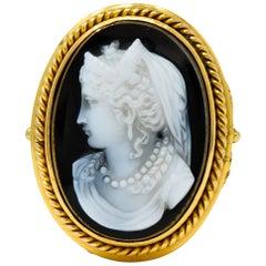 Victorian Onyx 14 Karat Gold Ornate Cameo Ring, circa 1900