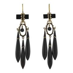 Victorian Onyx and Enameled Teardrop Dangle Earrings