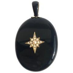 Victorian Onyx and Pearl Yellow Gold Locket Pendant