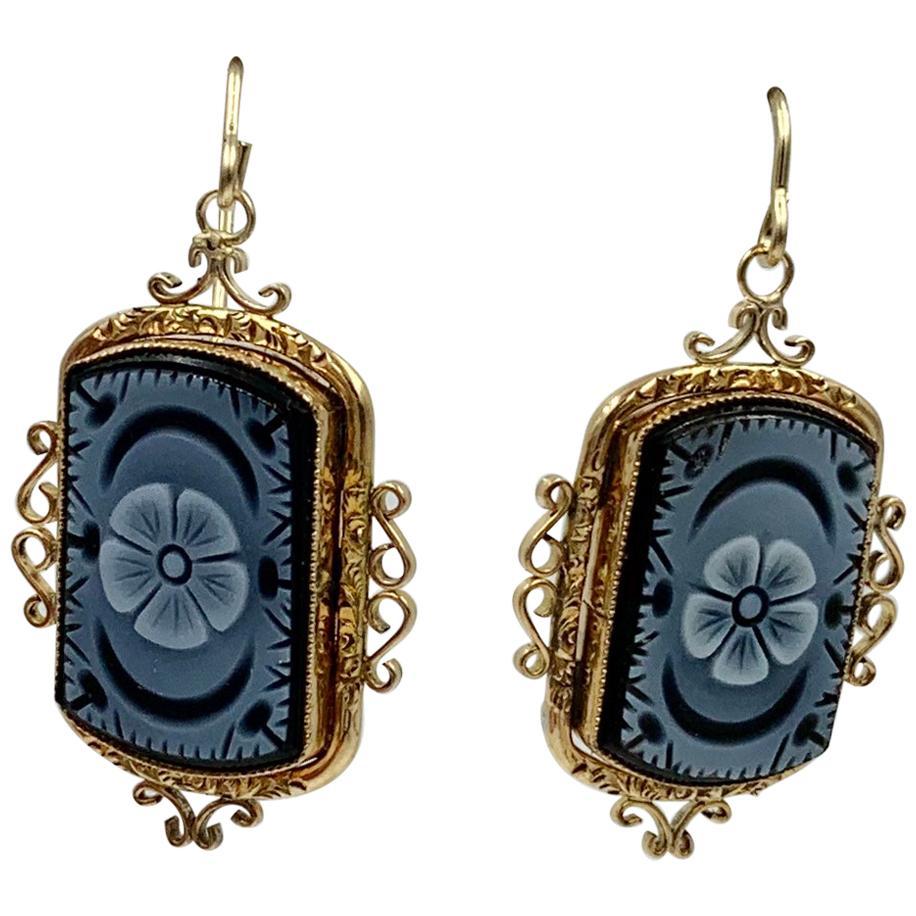 Victorian Onyx Cameo Flower Dangle Drop Earrings 14 Karat Gold