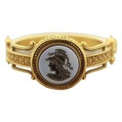 Victorian Onyx Cameo Gold Bangle Bracelet