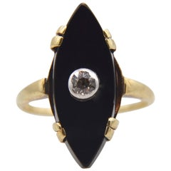 Victorian Onyx Diamond 14 Karat Gold Navette Old European Cut Cocktail Ring