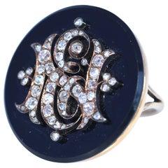 Victorian Onyx Diamonds Ring E N Initial, 1890