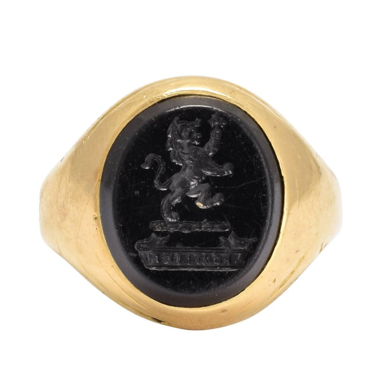 "Victorian Onyx Lion Intaglio Gold Signet Ring ""Bravely"""