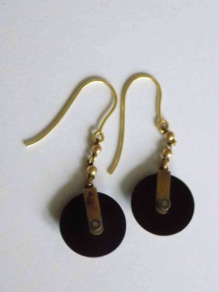Women's Victorian Onyx Seed Pearl Gold Earrings For Sale