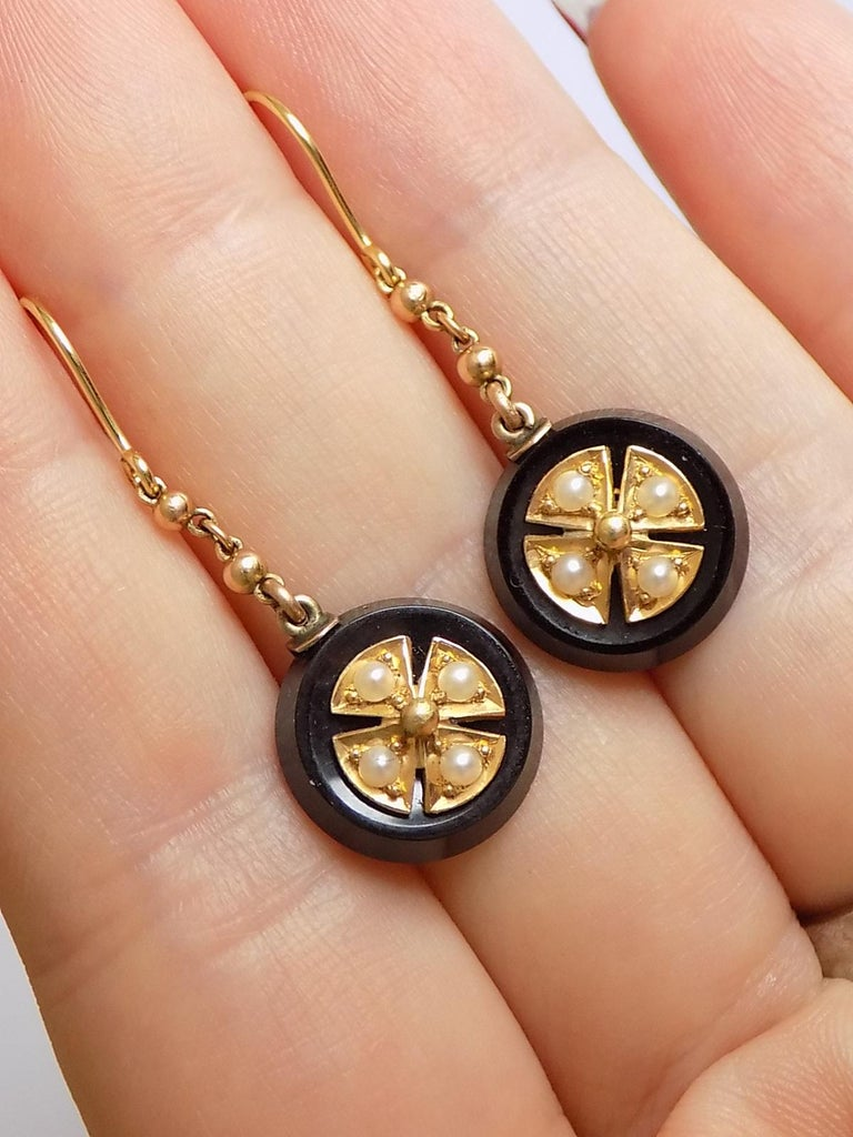 Victorian Onyx Seed Pearl Gold Earrings For Sale 1