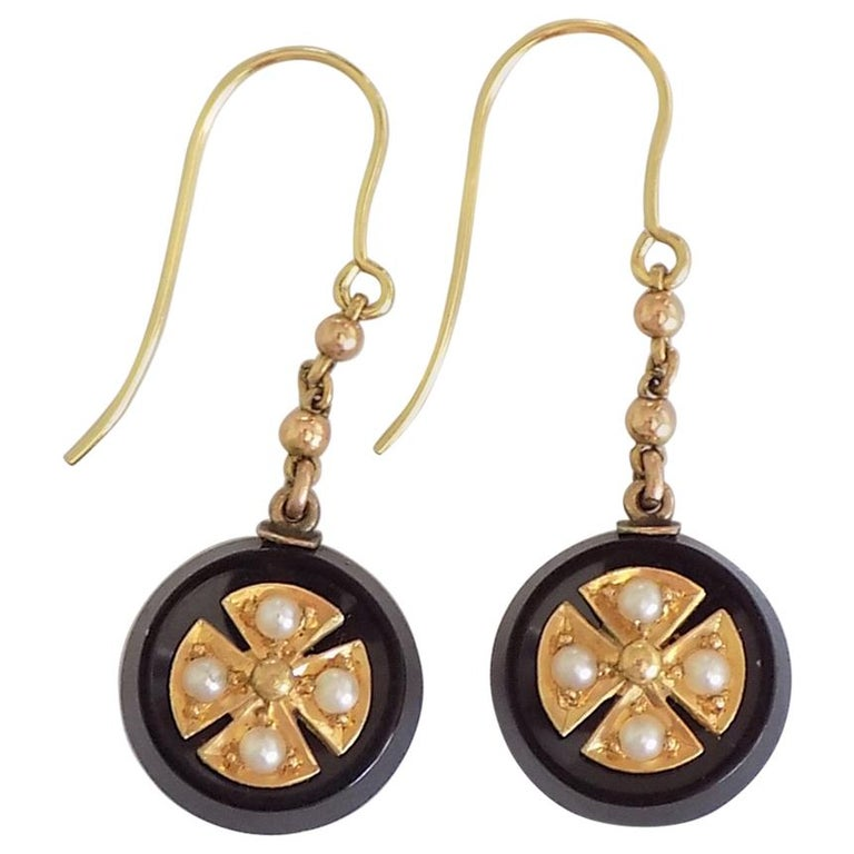 Victorian Onyx Seed Pearl Gold Earrings For Sale