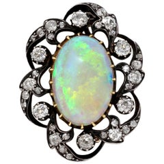Victorian Opal and 3 Carat Diamond Brooch