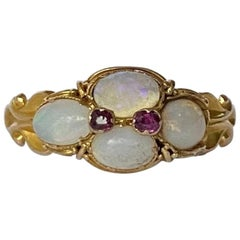 Victorian Opal and Amethyst 15 Carat Gold Ring