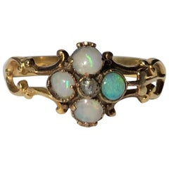 Victorian Opal and Diamond 18 Carat Gold Four-Stone Cluster Ring