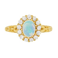 Victorian Opal and Diamond Cluster Ring, circa 1880s