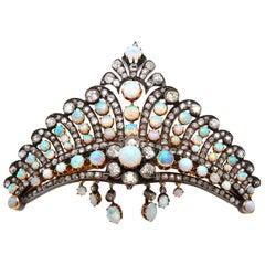 Victorian Opal and Diamond Crown Tiara Haircomb Necklace, circa 1880s