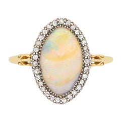 Victorian Opal and Diamond Dress Ring, circa 1880s