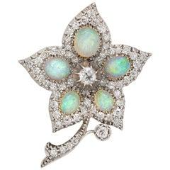 Victorian Opal and Diamond Flower Brooch