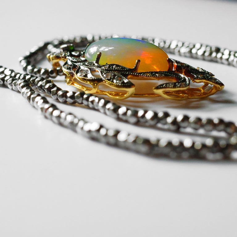 Victorian Opal and Diamond Pendant of Beguiling Beauty on Cut Steel Chain For Sale 7
