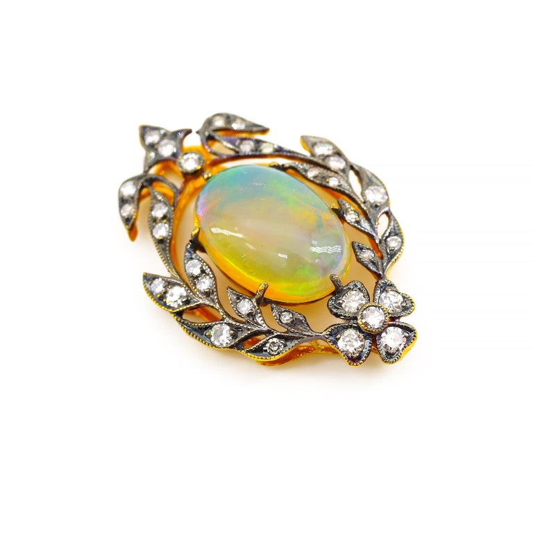 Victorian Opal and Diamond Pendant of Beguiling Beauty on Cut Steel Chain For Sale 10