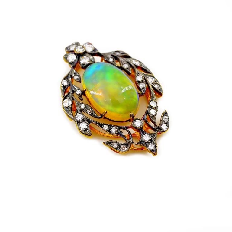 Victorian Opal and Diamond Pendant of Beguiling Beauty on Cut Steel Chain For Sale 11