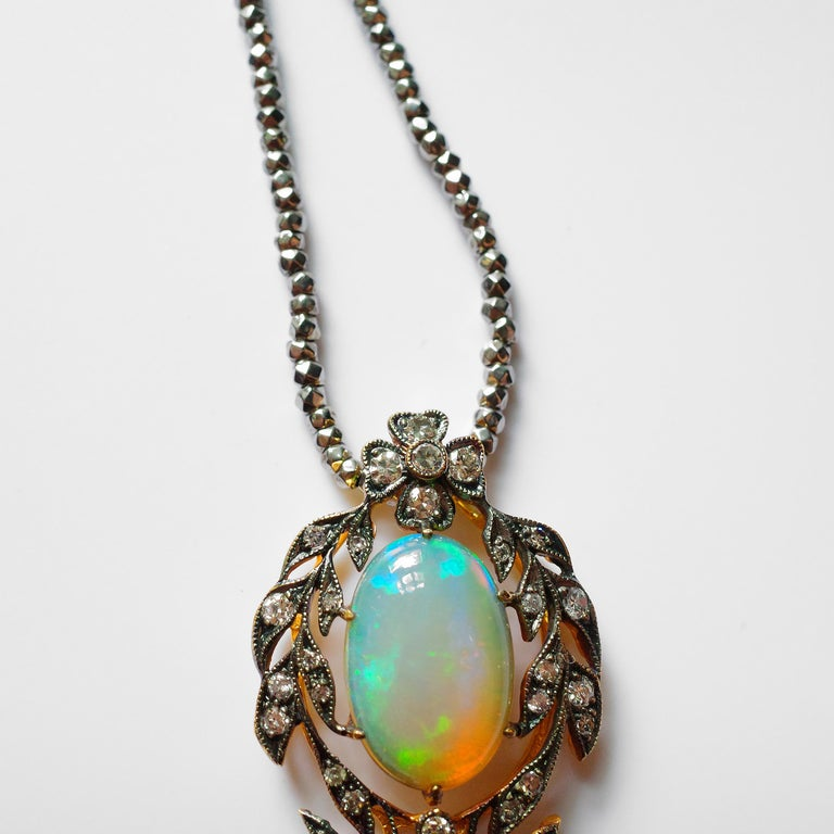 Victorian Opal and Diamond Pendant of Beguiling Beauty on Cut Steel Chain For Sale 13