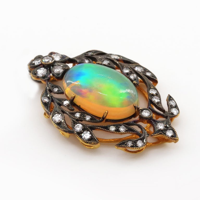 Victorian Opal and Diamond Pendant of Beguiling Beauty on Cut Steel Chain In Excellent Condition For Sale In Southbury, CT