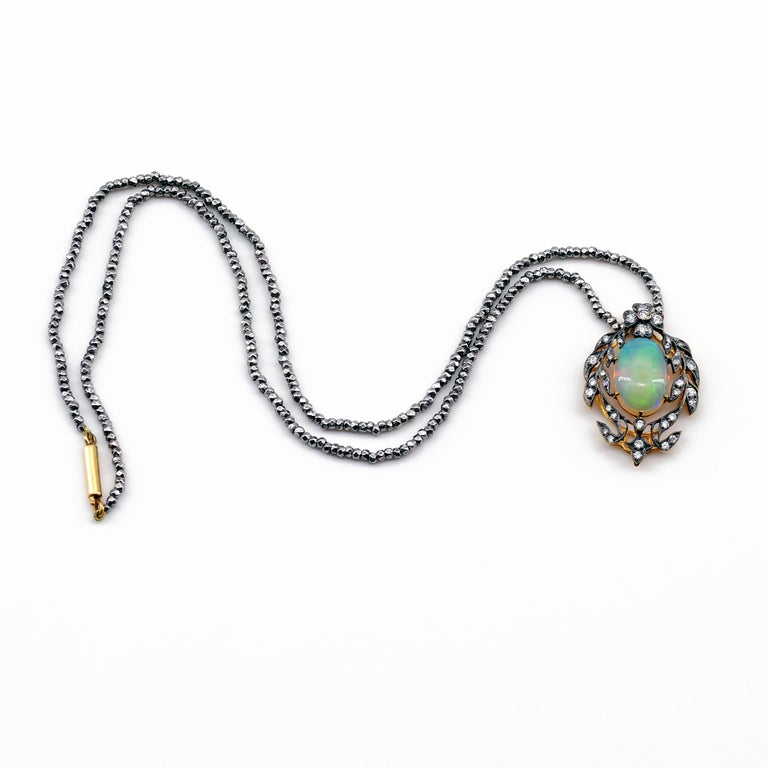 Women's Victorian Opal and Diamond Pendant of Beguiling Beauty on Cut Steel Chain For Sale