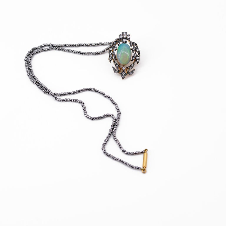 Victorian Opal and Diamond Pendant of Beguiling Beauty on Cut Steel Chain For Sale 1