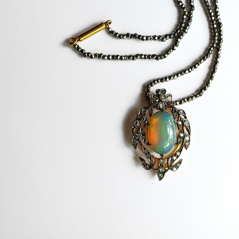 Victorian Opal and Diamond Pendant of Beguiling Beauty on Cut Steel Chain For Sale 2