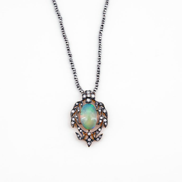 Victorian Opal and Diamond Pendant of Beguiling Beauty on Cut Steel Chain For Sale 3