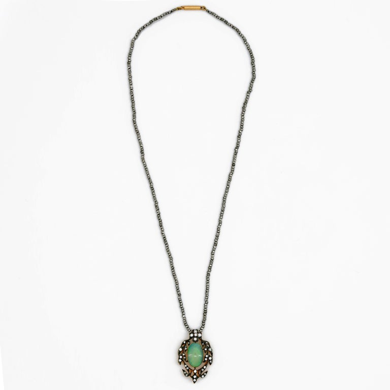 Victorian Opal and Diamond Pendant of Beguiling Beauty on Cut Steel Chain For Sale 4