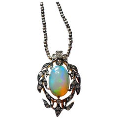 Victorian Opal and Diamond Pendant of Beguiling Beauty on Cut Steel Chain