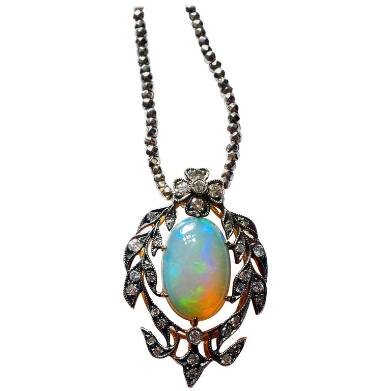 Victorian Opal and Diamond Pendant of Beguiling Beauty on Cut Steel Chain For Sale