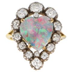 Victorian Opal and Old Mine Cut Diamond Heart Ring in Silver-on-Gold