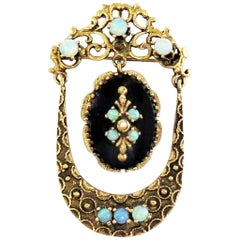 Victorian Opal and Onyx Pin / Pendant / 14 Karat Yellow Gold