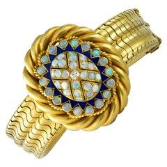 Victorian Opal, Blue Enamel and Diamond Bracelet
