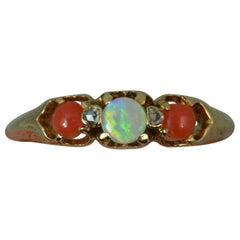 Victorian Opal Coral and Diamond 18 Carat Gold Stack Trilogy Ring