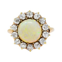 Victorian Opal Diamond 14 Karat Gold Cabochon Cluster Ring