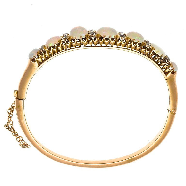 Victorian Opal Diamond Gold Bangle Bracelet In Excellent Condition For Sale In Beverly Hills, CA