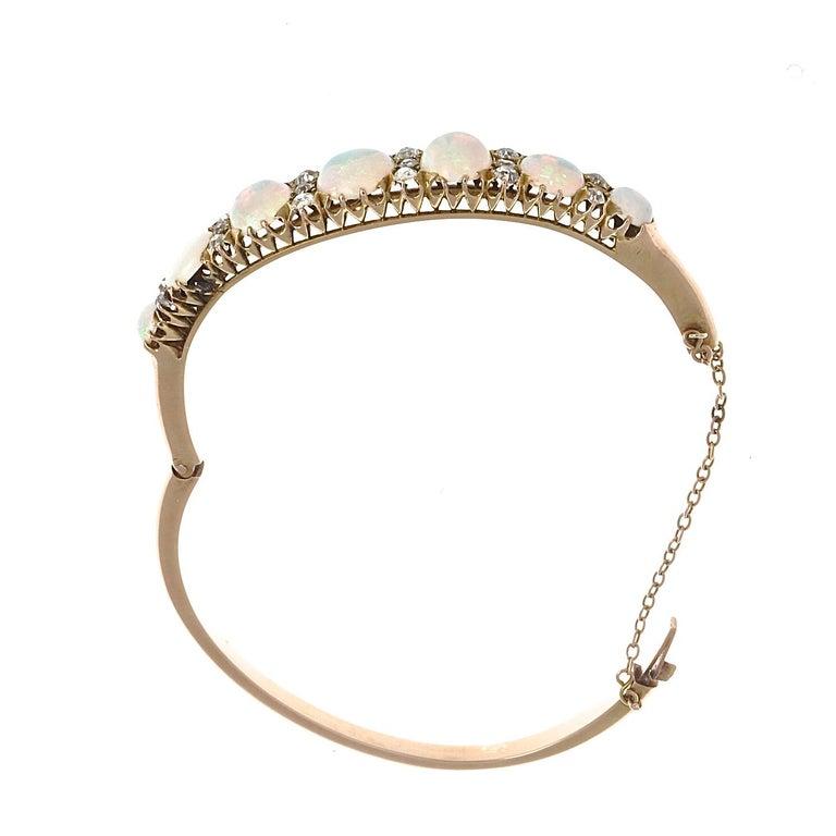 Women's Victorian Opal Diamond Gold Bangle Bracelet For Sale