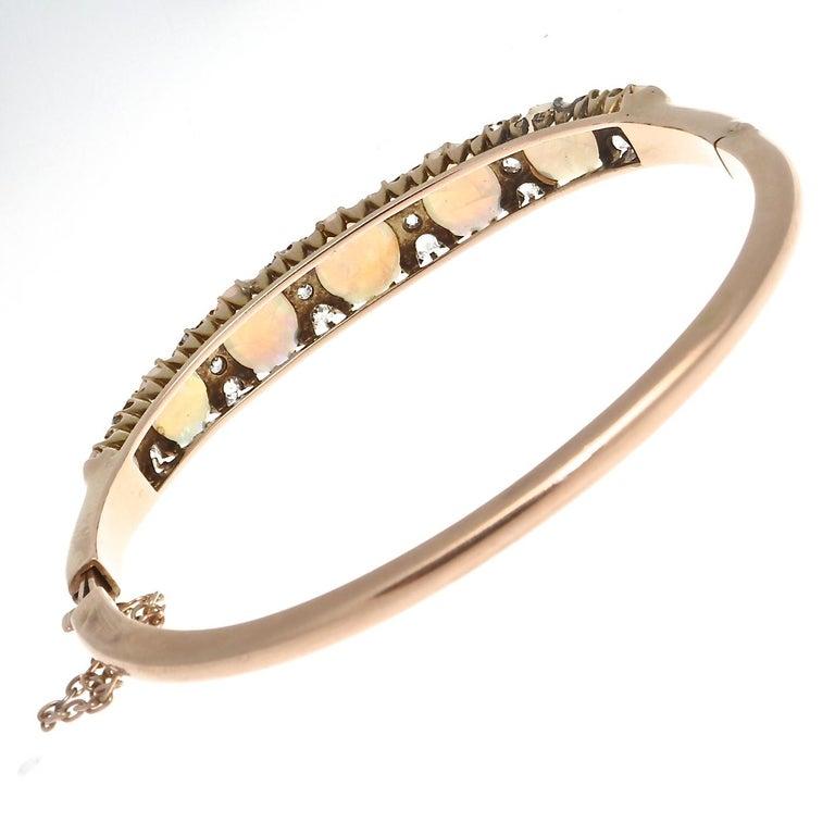 Victorian Opal Diamond Gold Bangle Bracelet For Sale 1